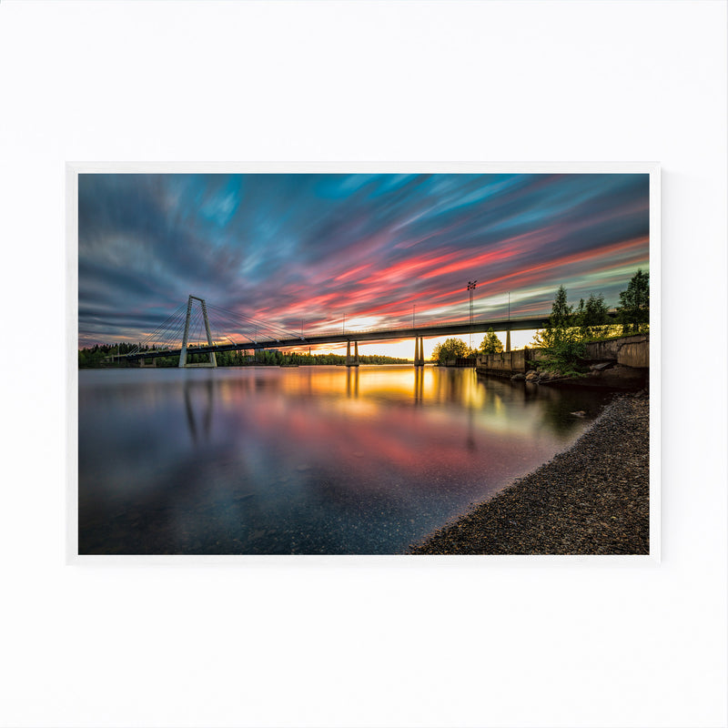 Sunset Modern Bridge Umea Sweden Framed Art Print