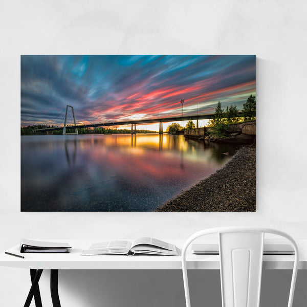 Sunset Modern Bridge Umea Sweden Art Print