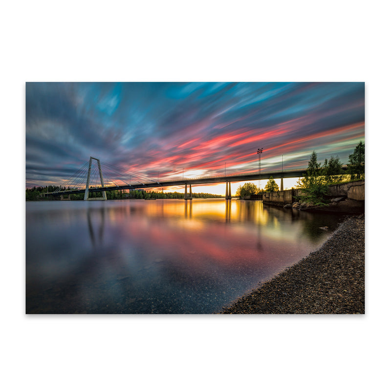 Sunset Modern Bridge Umea Sweden Metal Art Print