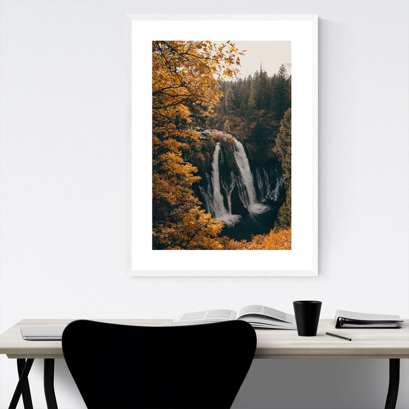 Burney Falls Autumn California Framed Art Print