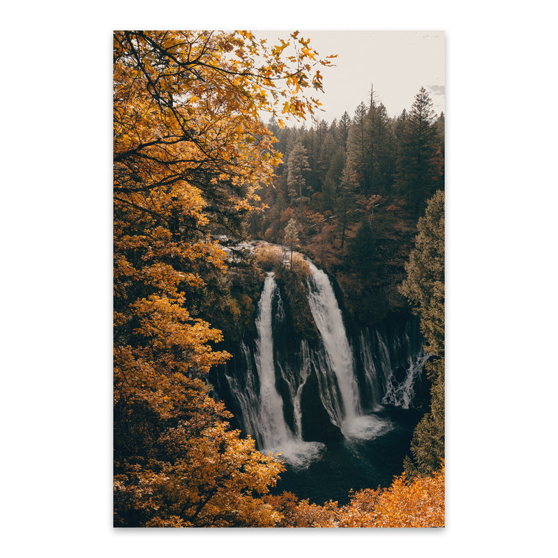 Burney Falls Autumn California Metal Art Print