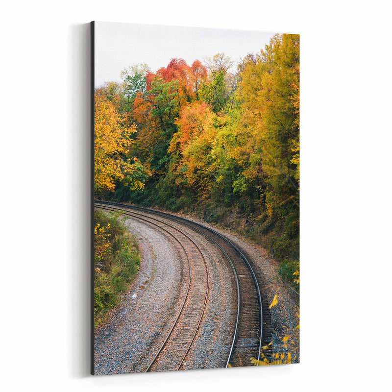 Fall Color along Railroad Canvas Art Print