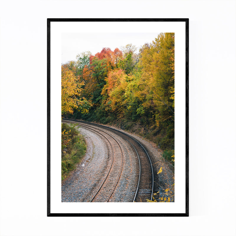 Fall Color along Railroad Framed Art Print