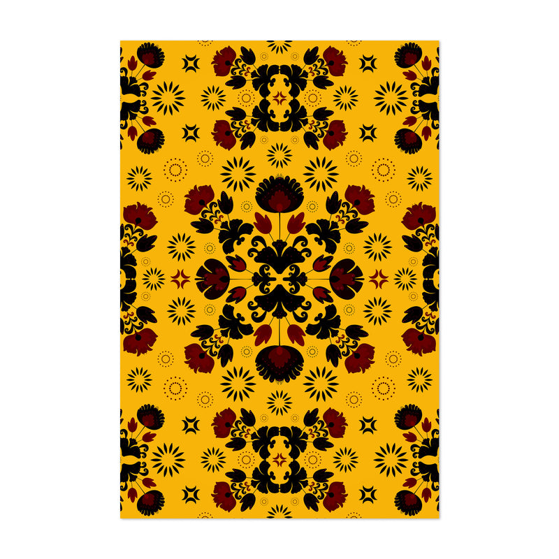 Yellow Polish Folk Art Pattern Art Print