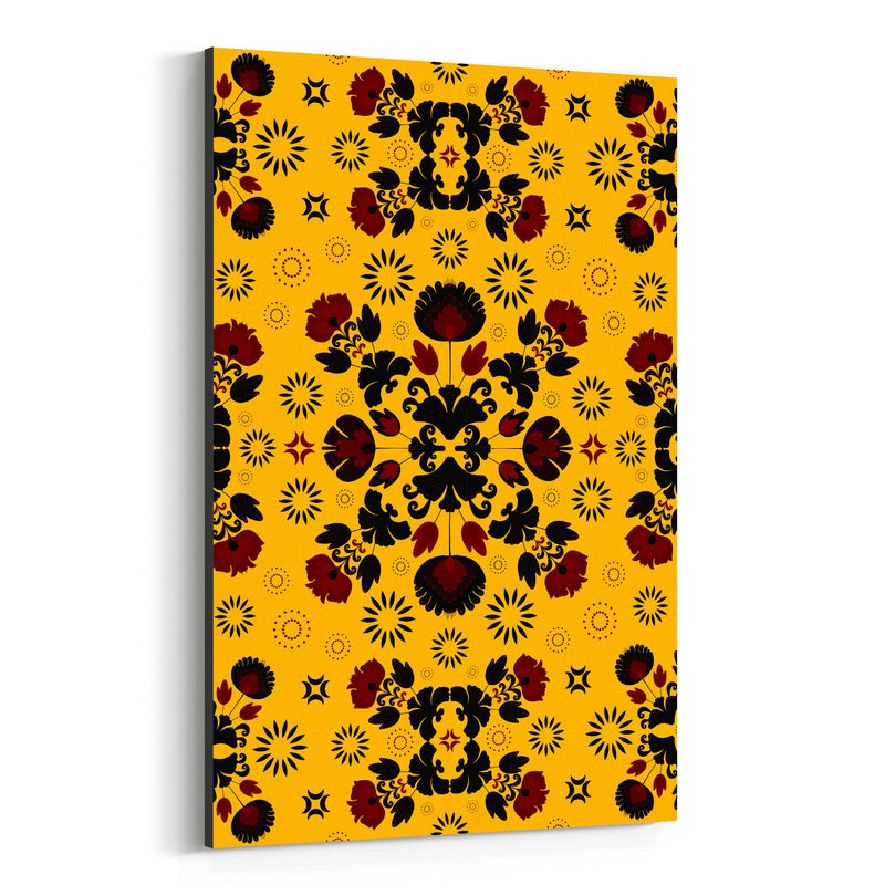 Yellow Polish Folk Art Pattern Canvas Art Print