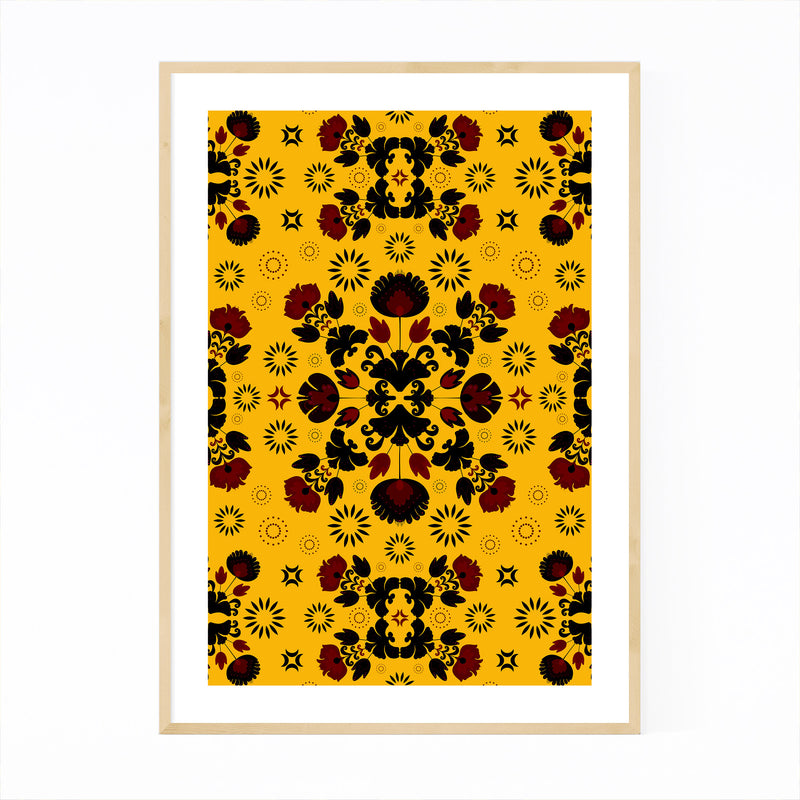 Yellow Polish Folk Art Pattern Framed Art Print