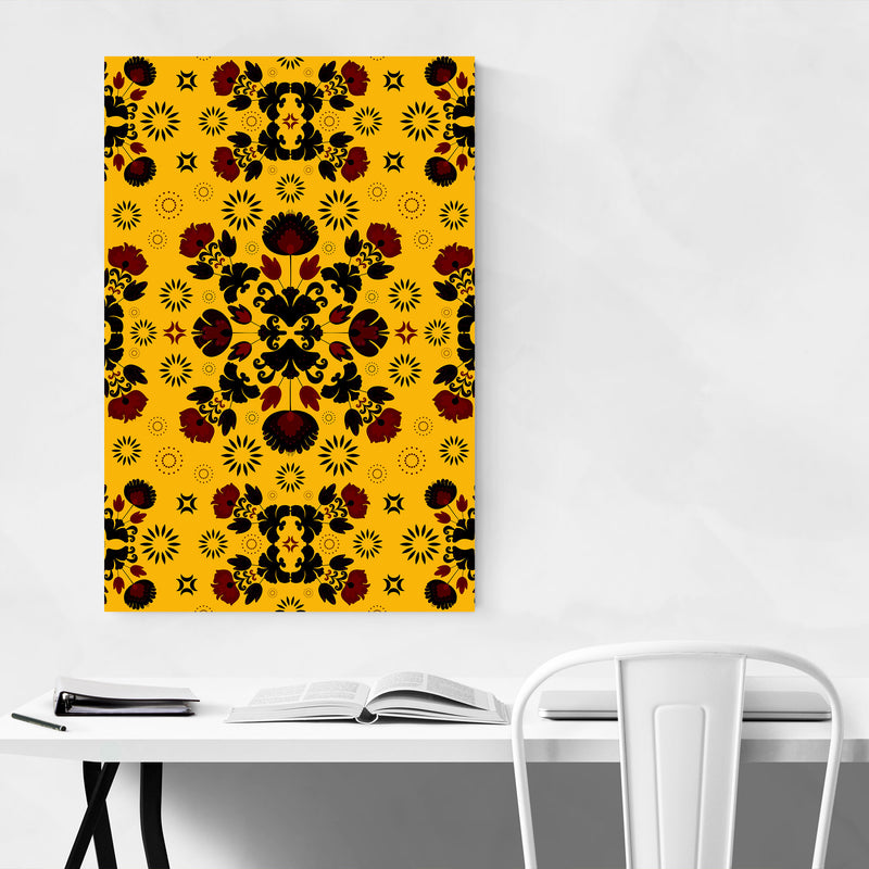 Yellow Polish Folk Art Pattern Metal Art Print