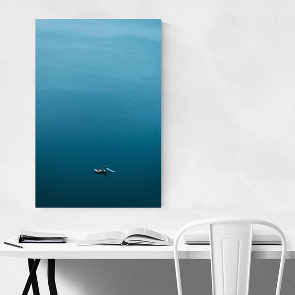 Fishing Boat Lake Aerial Art Print
