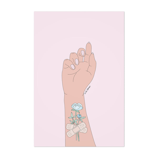 Bandage Flowers Motivational Art Print