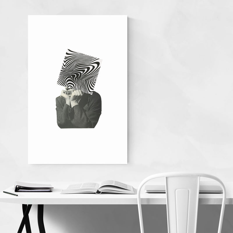 Abstract Optical Illusion Man Metal Art Print