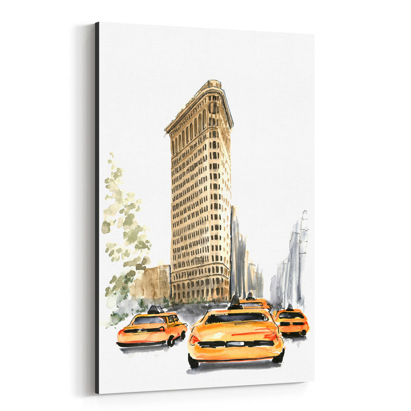 NYC Flatiron Taxi Watercolor Canvas Art Print
