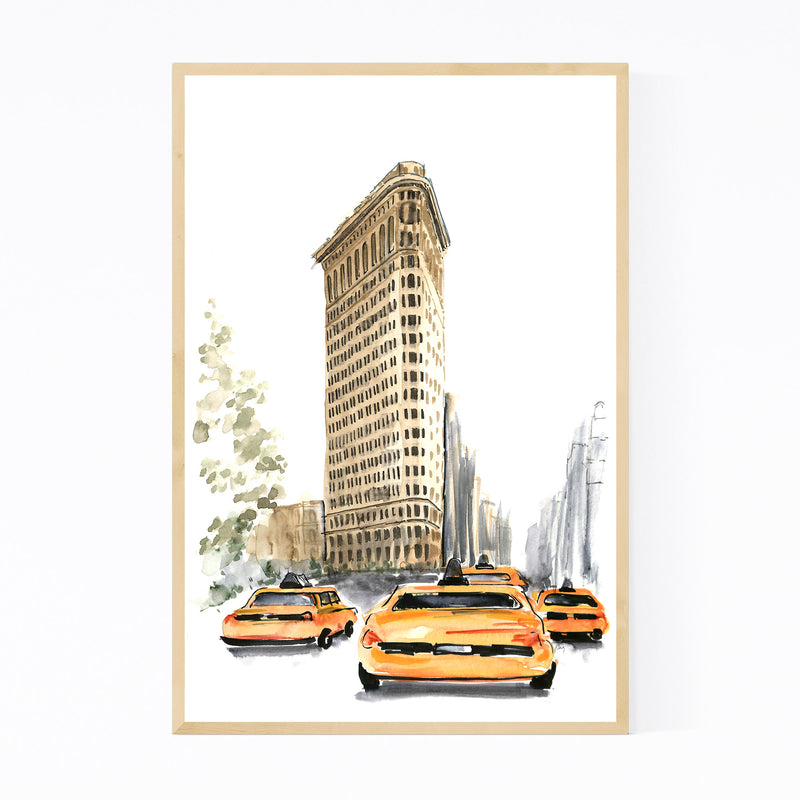 NYC Flatiron Taxi Watercolor Framed Art Print