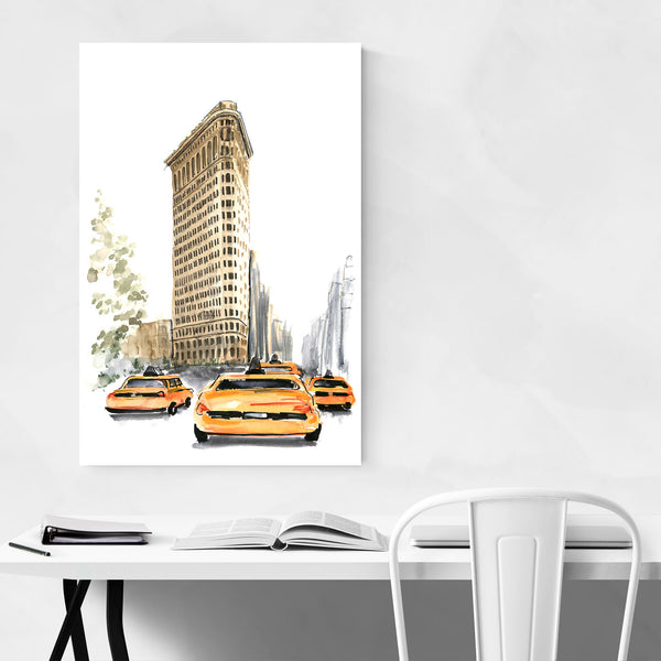 NYC Flatiron Taxi Watercolor Art Print