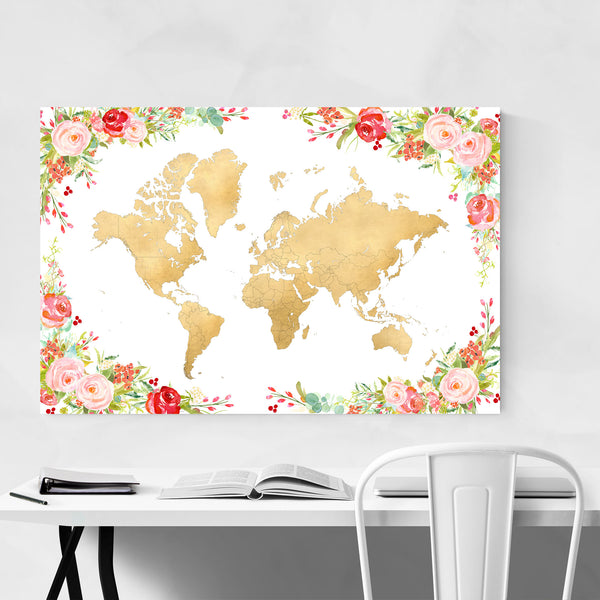 Floral Gold Watercolor World Map Art Print