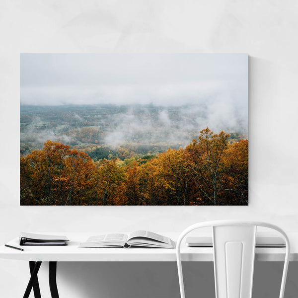 Autumn Fall Foggy Blue Ridge Art Print