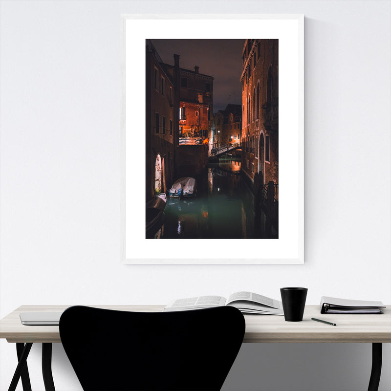 Venice Italy Canal Night Europe Framed Art Print