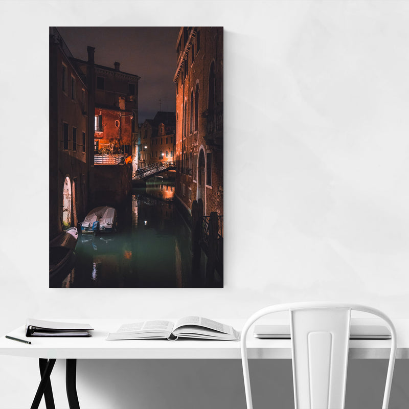 Venice Italy Canal Night Europe Metal Art Print