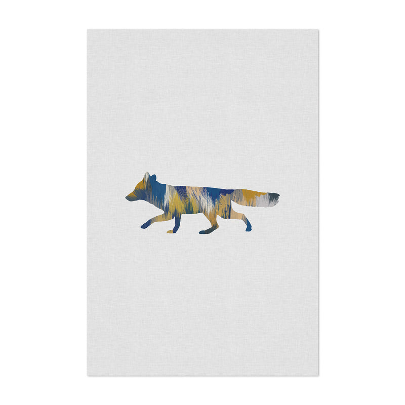 Abstract Blue Fox Animal Art Print
