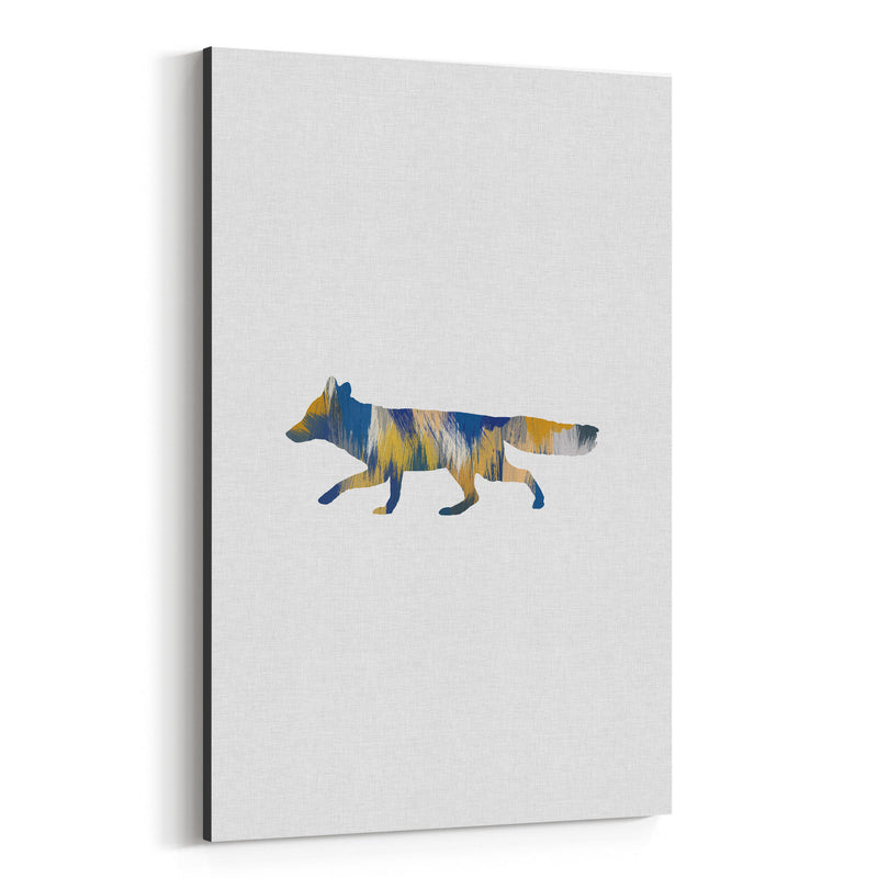 Abstract Blue Fox Animal Canvas Art Print