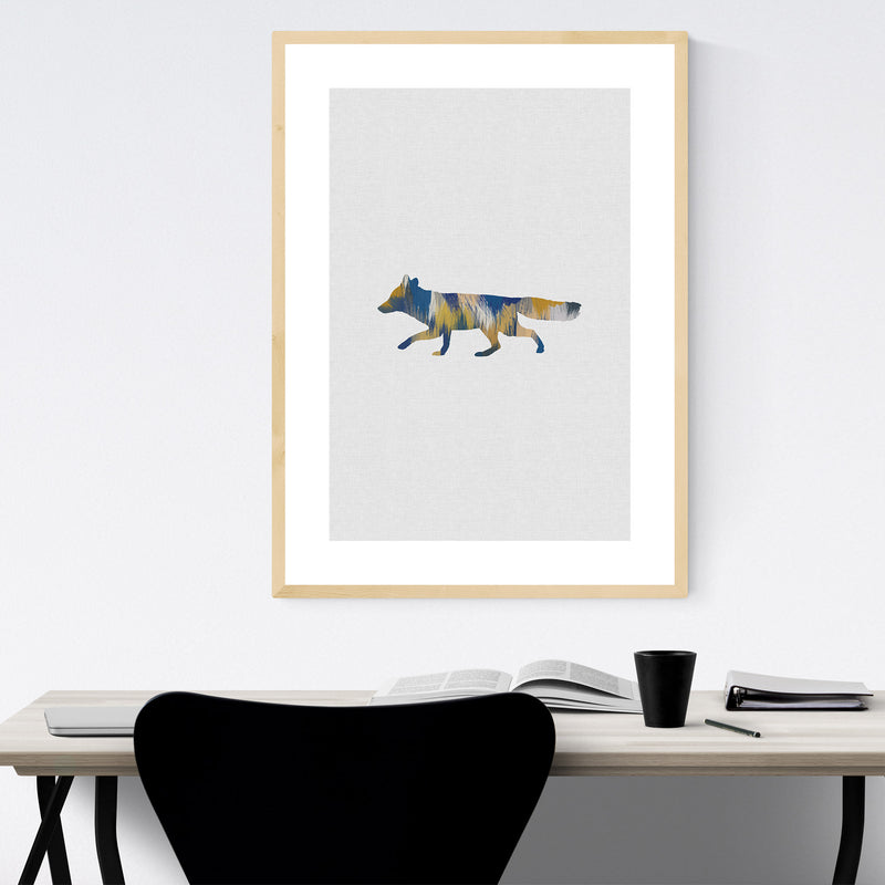 Abstract Blue Fox Animal Framed Art Print