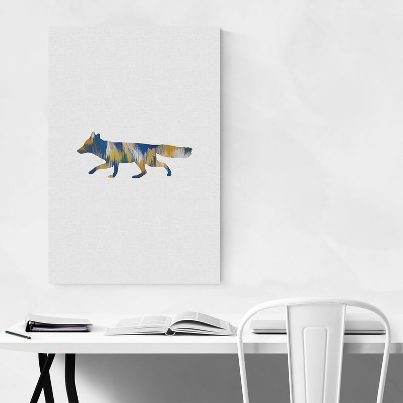 Abstract Blue Fox Animal Metal Art Print