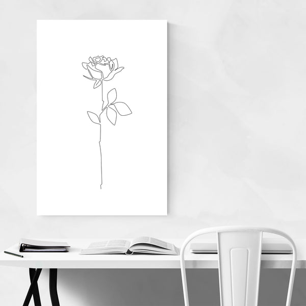 Scandinavian Flower Line Drawing Art Print