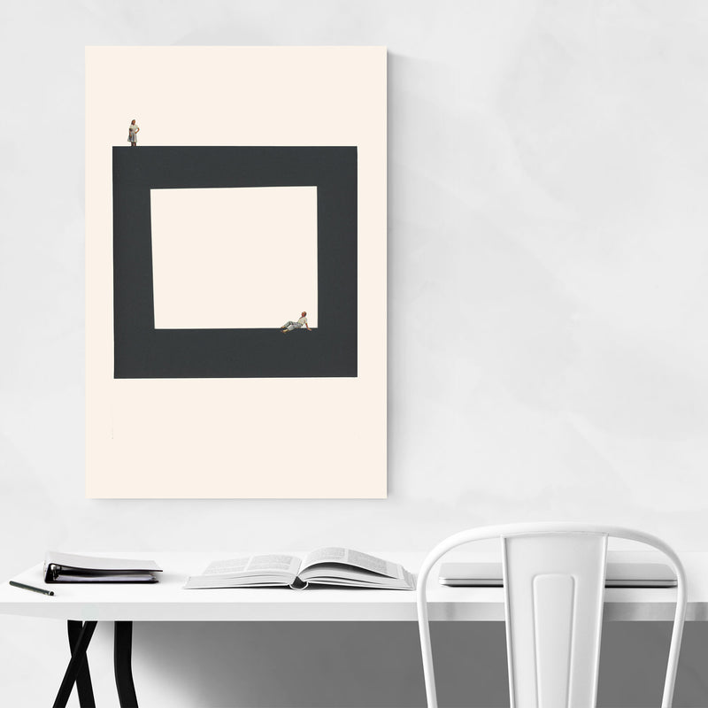 Abstract Geometric Square Woman Metal Art Print