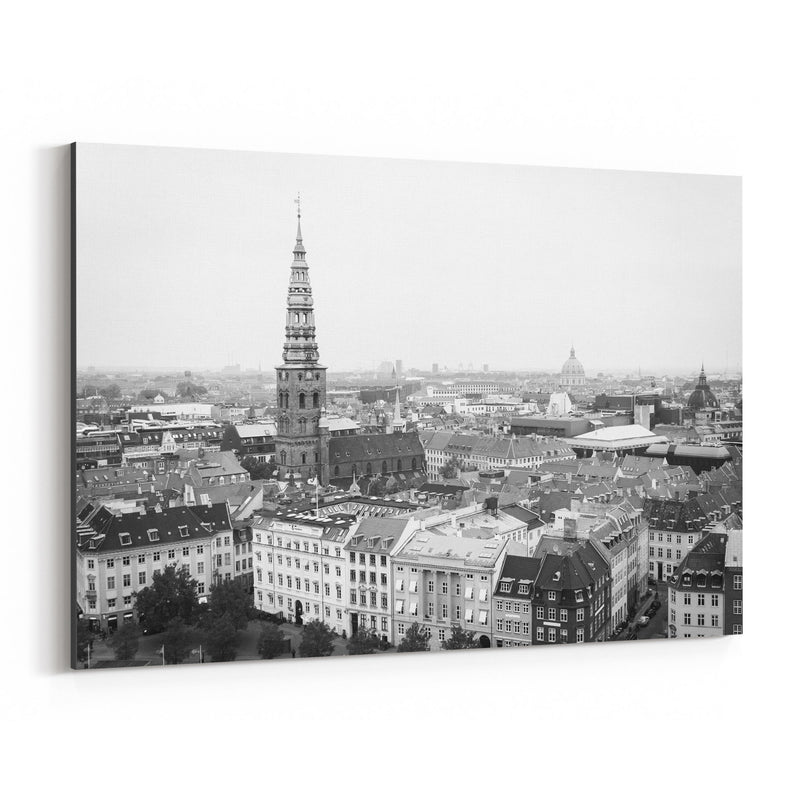 Black & White Copenhagen Denmark Canvas Art Print
