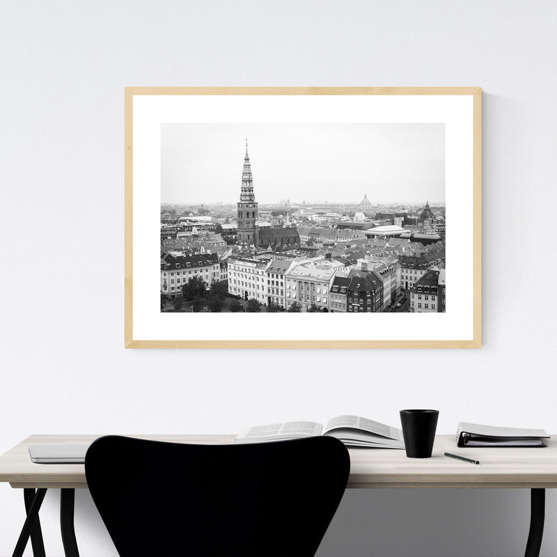 Black & White Copenhagen Denmark Framed Art Print