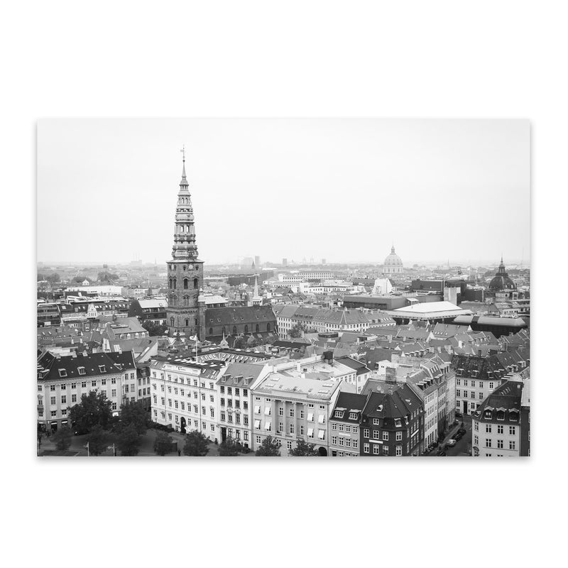 Black & White Copenhagen Denmark Metal Art Print