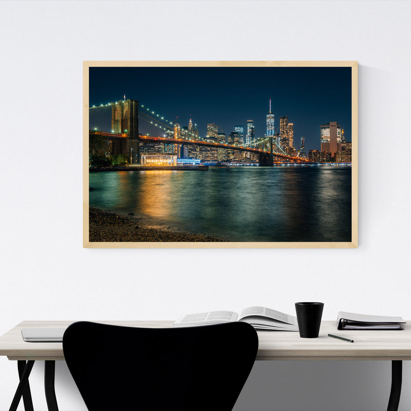 New York Brooklyn Bridge Skyline Framed Art Print