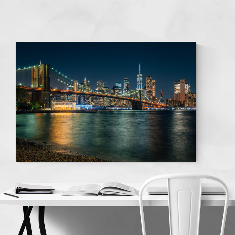 New York Brooklyn Bridge Skyline Metal Art Print