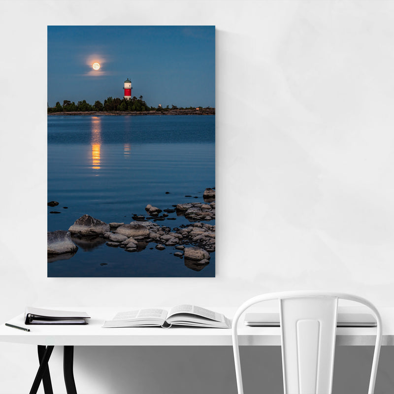 Umeå Sweden Lighthouse Moon Canvas Art Print