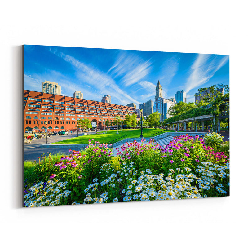 Boston City North End Waterfront Canvas Art Print