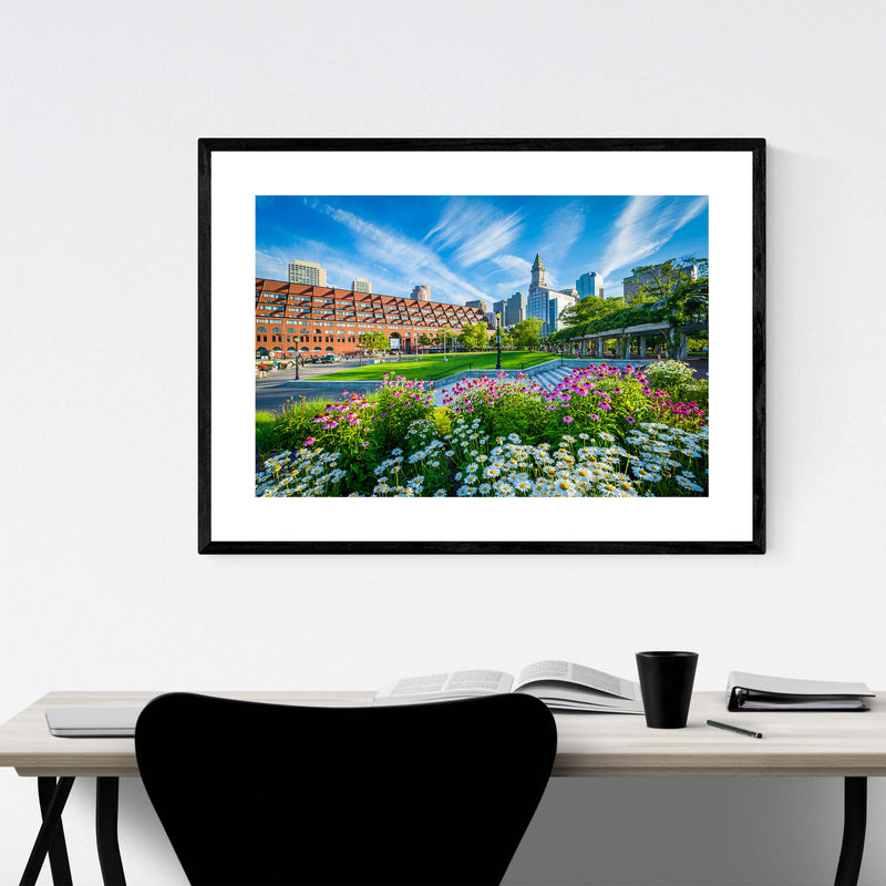 Boston City North End Waterfront Framed Art Print