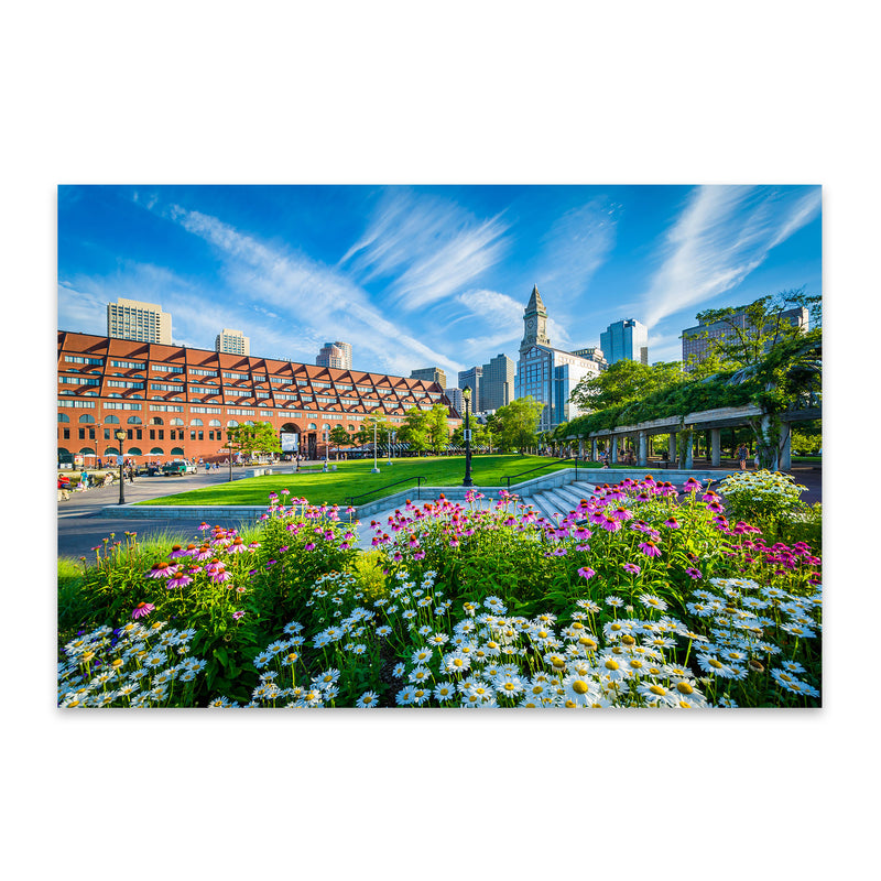 Boston City North End Waterfront Metal Art Print