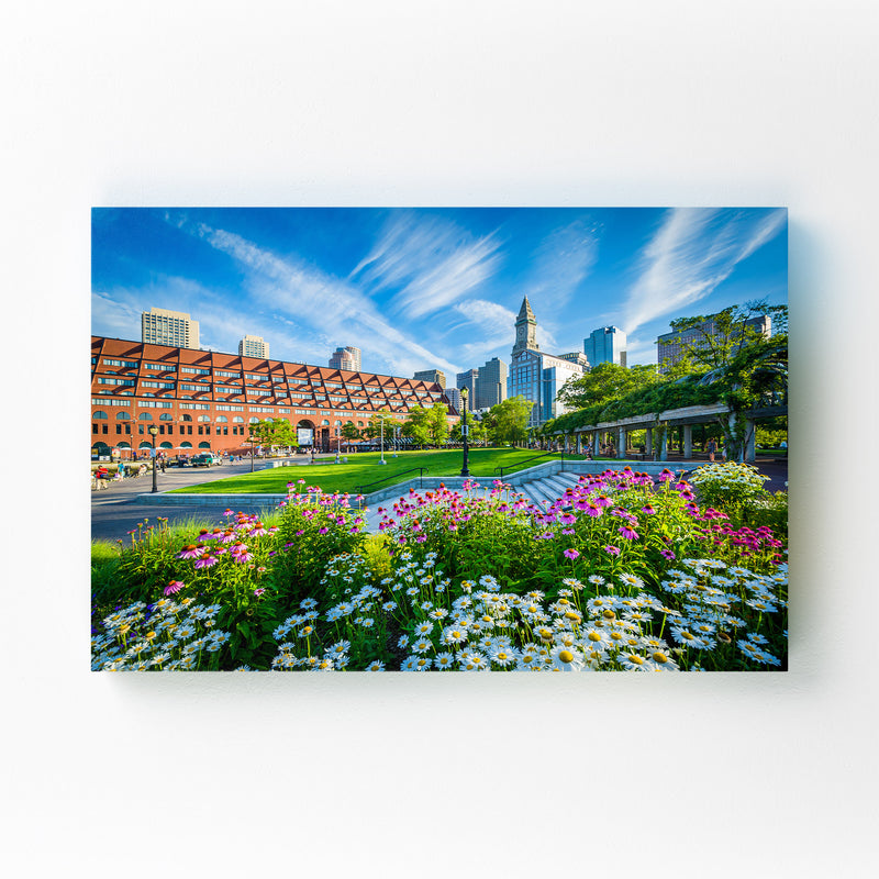Boston City North End Waterfront Mounted Art Print