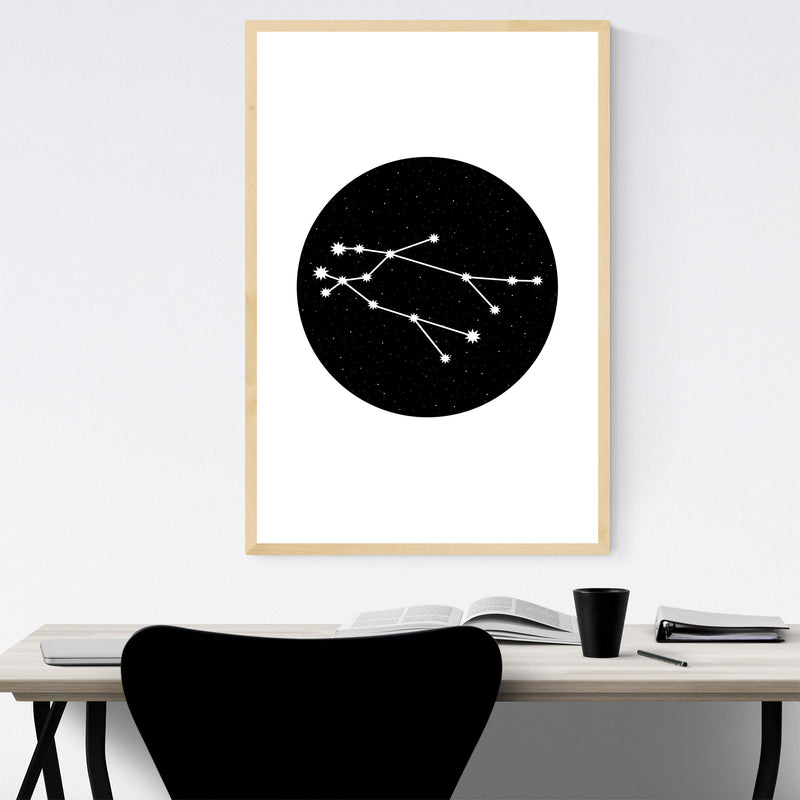 Night Sky Gemini Astrology Zodiac Framed Art Print