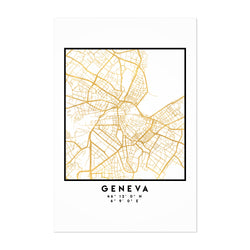 Minimal Geneva City Map Art Print