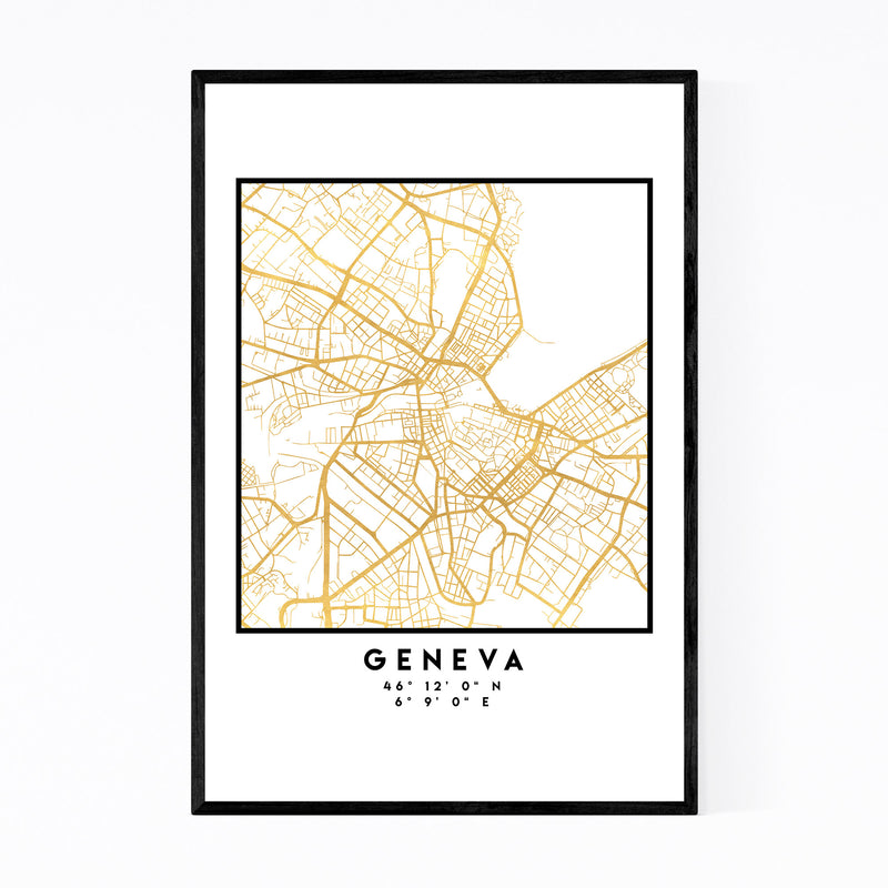 Minimal Geneva City Map Framed Art Print
