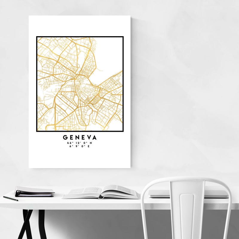 Minimal Geneva City Map Canvas Art Print