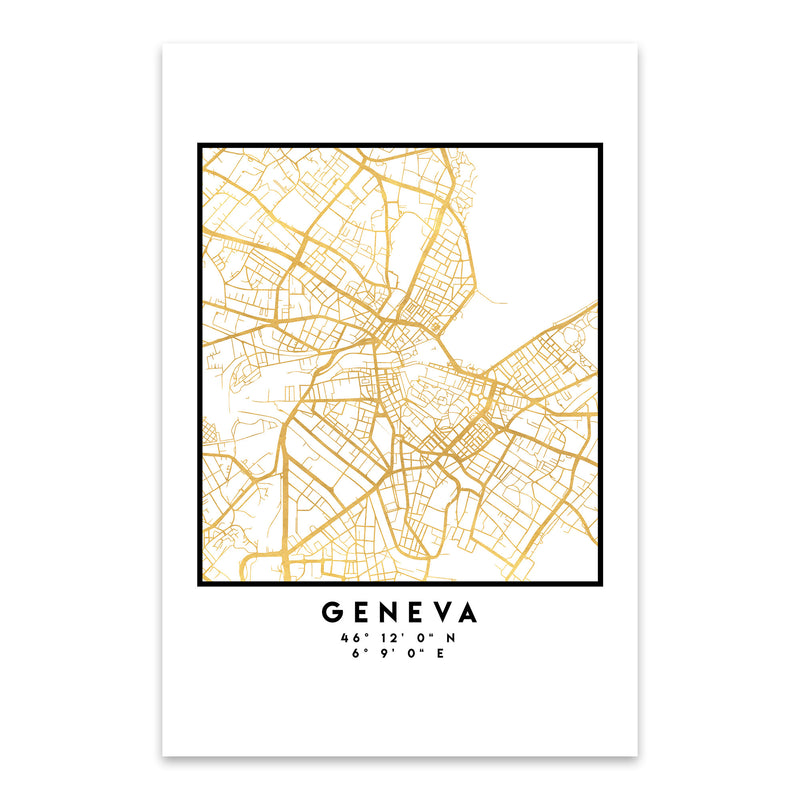 Minimal Geneva City Map Metal Art Print