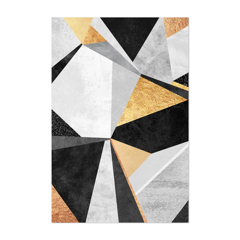 Art Deco Gold Abstract Geometry Art Print