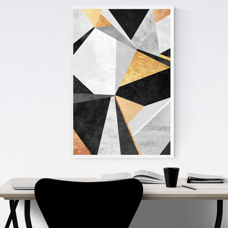 Art Deco Gold Abstract Geometry Framed Art Print