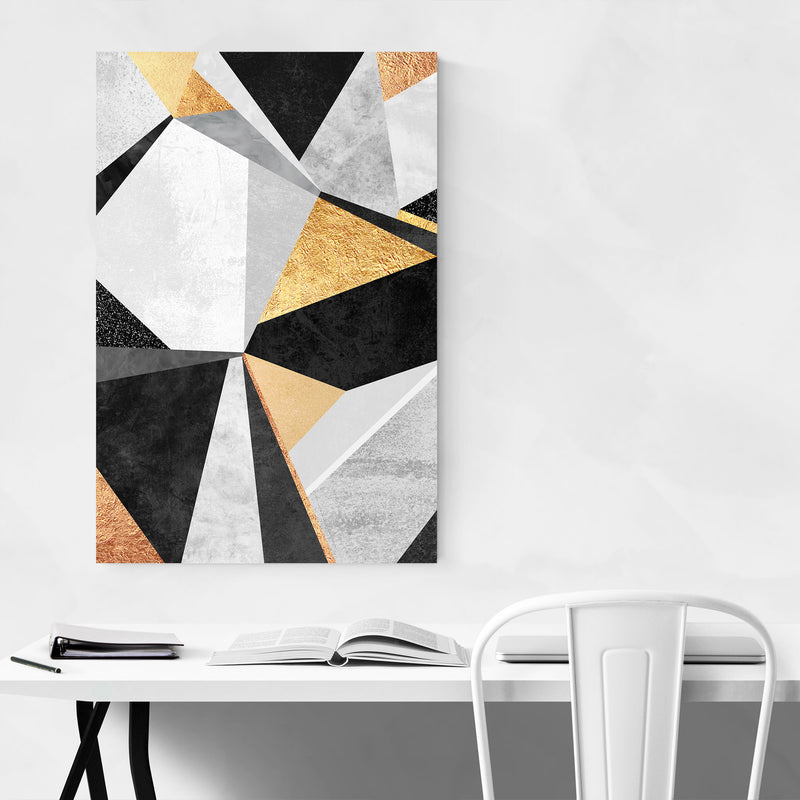 Art Deco Gold Abstract Geometry Canvas Art Print