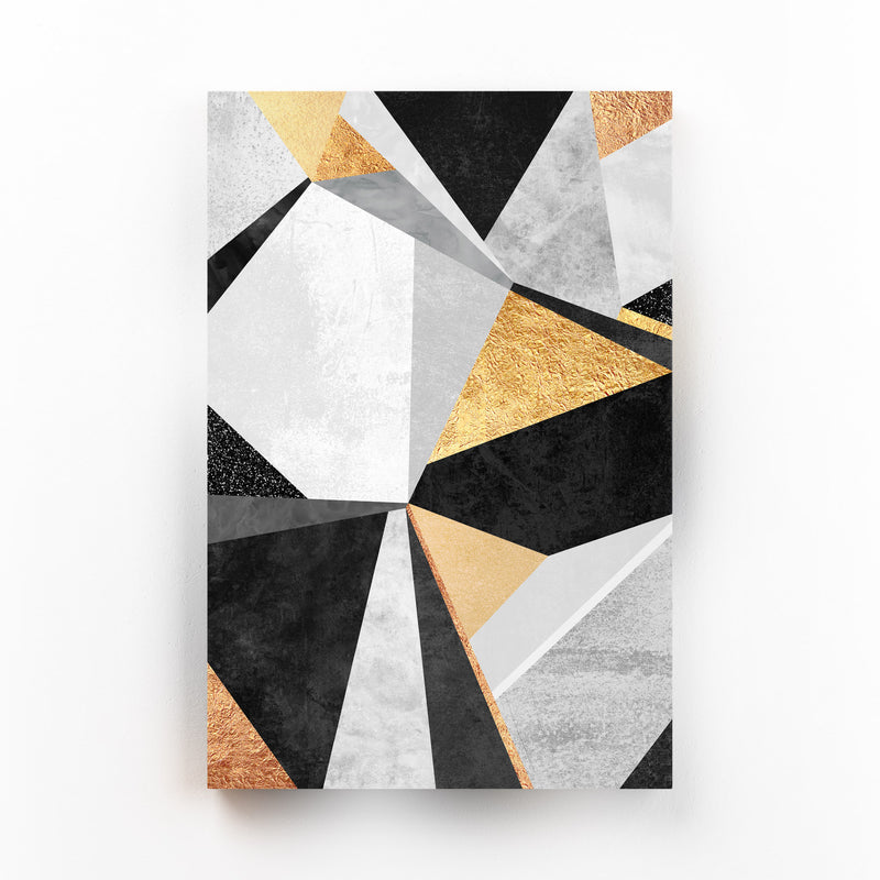Art Deco Gold Abstract Geometry Mounted Art Print