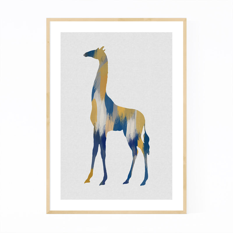 Abstract Blue Giraffe Painting Framed Art Print