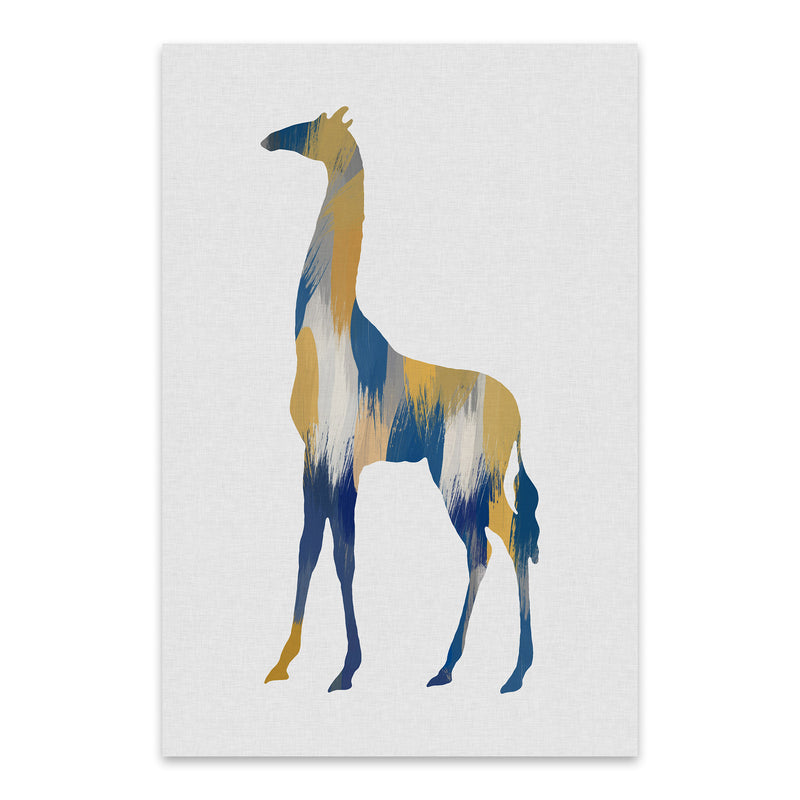 Abstract Blue Giraffe Painting Metal Art Print