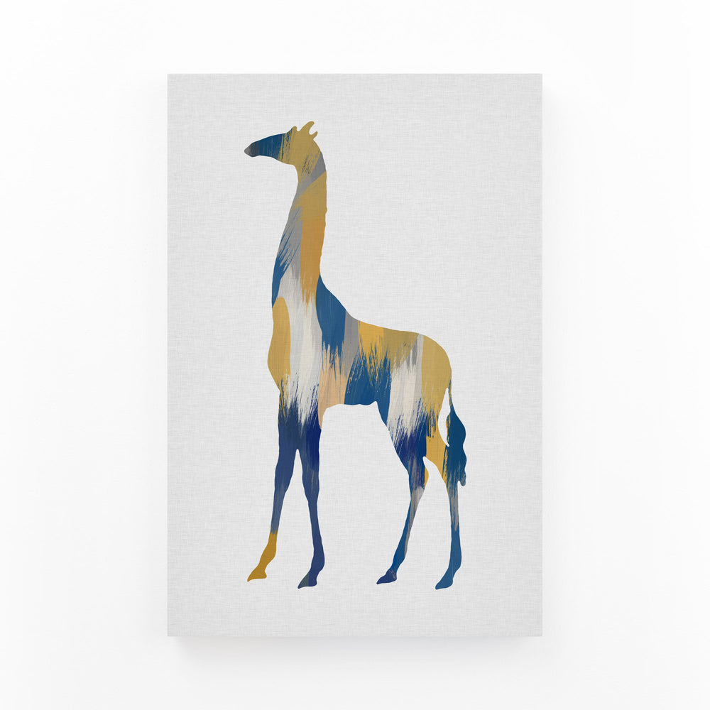 Abstract Blue Giraffe Painting Mounted Art Print