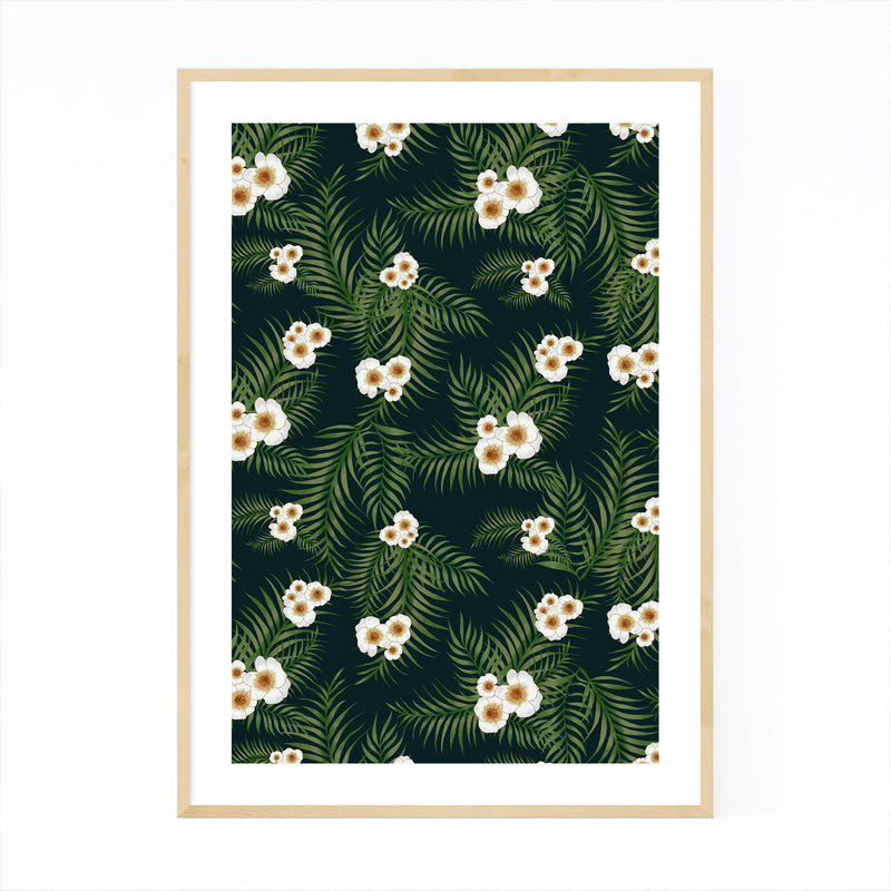 Tropical Floral Pattern Framed Art Print